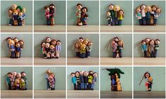The Polka Dot Cottage Winter 2015/2016 Family Portrait Ornament Collection (so far!). There are 9 more in the queue to be made, and 4 open slots for new orders, if you're interested... They're made to order by Lisa Clarke, from polymer clay.