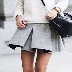 Pleated gray skirt.