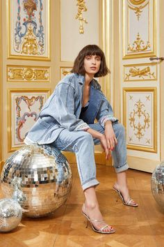 Christine Phung is an award-winning designer whose signature collection is both delicate and boldly architectural. Adriana Lima Victoria Secret, Victoria Secret Fashion, Denim Shirt With Jeans, Love Jeans, Double Denim Fashion, Vogue Paris, Leonard Paris, Billy Jean, Canadian Tuxedo