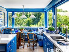 Vibrant blue kitchen by designers Beth Martell and Enda Donagher.