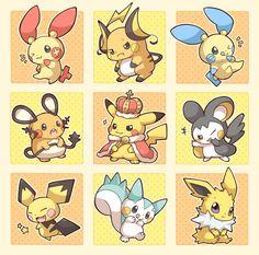 King Pika! Plusle, Raichu, Minun, Pikachu, Emolga, Pichu, Pachirisu, Jolteon (by Dedenne, Pixiv Id 3811512)