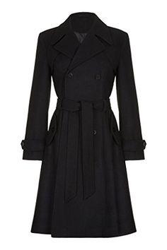 Anastasia Damen Wolle Winter mit Gürtel Trench Mantel,schwarz,40 Anastasia