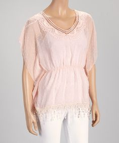 Blush Sheer Embroidered Cape-Sleeve Top - by Farinelli