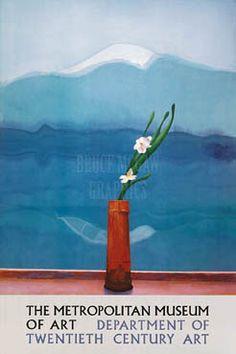 Mount Fuji and flowers.  David Hockney