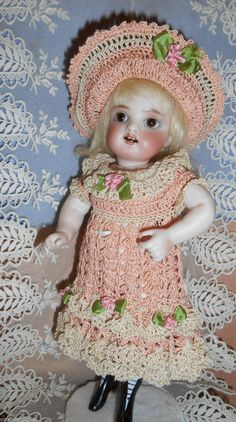 "Crochet Dress Hat for 8 5"" Antique All Bisque Kestner Wrestler Mignonette Doll 