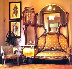 modern art nouveau furniture - exposed wood frames, curving lines, dramatic appearance