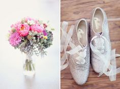 Glittery lace up shoes with organza ribbon laces.