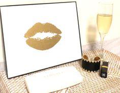 Art Gold Print 24K Lip Kiss Stylish Gold and White by GildedMint $27