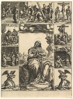 The Virgin of Sorrows; an image of the Virgin Mary surrounded by nine vignettes depicting scenes of her life Artist: Engraved by Giorgio Ghisi (Italian, Mantua ca. 1520–1582 Mantua) Date: by 1575 Medium: Engraving