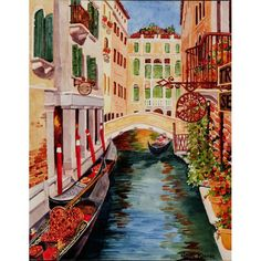 Venezia II Italian waterscape art. Heidi Rosner watercolors feature European landscapes, floral, botanicals, still lifes. Commission arrangements available.
