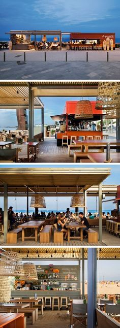 Sandra Tarruella Interioristas designed La Guingueta, a beachside bar and restaurant located at San Sebastian in Barcelona, Spain.