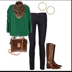 Love the green sweater with the leopard scarf.