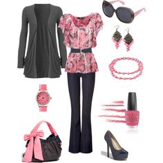 I Love Pink!, created by beverly-keith-simpkins. - I love Purple & Teal, but this is one cute outfit. (Robin)