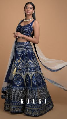 Navy blue lehenga in silk with foil print in framed flower pot motif along with ethnic heritage pattern. Ethnic Outfits, Indian Outfits, Indian Clothes, Bollywood Outfits, Pakistani Outfits, Navy Blue Lehenga, Blue Frock, Designer Bridal Lehenga, Silk Lehenga