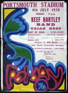 Keef hartley band, Uriah Heep, East Of… Rock Posters, Band Posters, Music Posters, Festival Posters, Concert Posters, Psycadelic Art, Pop Art Movement, East Of Eden, Uriah