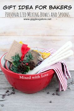 Gift Idea for Bakers Mixing Bowls and Spoons (client) - this is a super cute idea, and you might just end up with cookies in your thank you note.