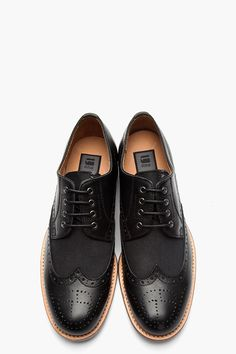 G-STAR // BLACK LEATHER BUREAU MIXED WINGTIP BROGUES.