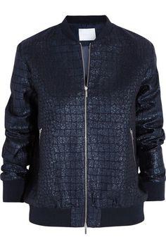 Croc-effect jacquard bomber jacket