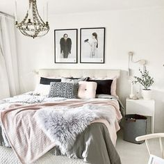 Bedroom Decor Inspiration. Blush and Grey Bedroom.