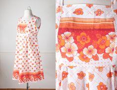 Mod 60s Shift Dress   Vintage 1960s Floral Print Dress Psychedelic Dress Retro 60s Mini Dress Boho Chic 70s Dress Cute Summer Dress Orange by BlueHorizonVintage on Etsy