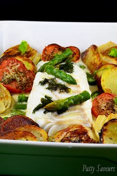 Baked Cod, Curry Lemon Sauce - Baked cod curry and lemon sauce recipe, cod loin is baked for 12 minutes and served with a light c - Fish Recipes, Seafood Recipes, Seafood Dishes, Baked Cod, Recipe Creator, Lemon Sauce, Fish And Seafood, Quick Easy Meals, Food Hacks