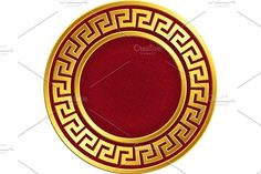 Golden round frame with traditional vintage Greek Meander pattern on the red background for design template. Gold pattern for decorative tiles and plates Greek Pattern, Gold Pattern, Outline Illustration, Pencil Illustration, Red And Black Background, Greek Mythology Tattoos, Lion Head Tattoos, Cloud Drawing, Cute Designs To Draw