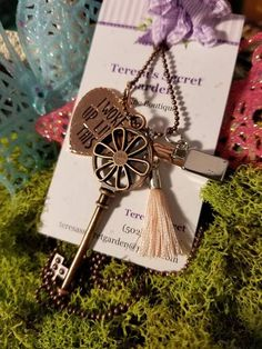 Sunflower Skeleton Key/Lipstick/Coral Tassel/Heart Charms/Chain/ Free Gifts