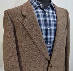 FACIS mens 2 button WOOL TWEED HUNTING sport coat blazer 46R regular 46 44 R  #Facis #TwoButton