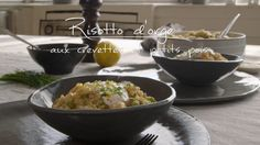 Risotto d'orge aux crevettes et petits pois Quebec, Menu Planners, New Cooking, Tasty, Yummy Food, Couscous, Dairy Free Recipes, Side Dishes, Dinner