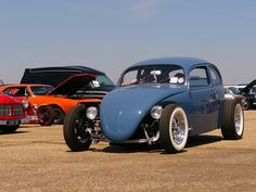 I like the light blue Volksrod... but I really like that dropped I-Beam, Chrome Cragar SS rims, and white wall tires.... so fine.