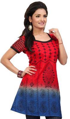 India Tunic Cotton Top Kurti Womens Printed Blouse Indian Apparel (Red, XS) Maple Clothing http://www.amazon.com/dp/B00CVCCHMY/ref=cm_sw_r_pi_dp_KpJEub1SD8GSQ
