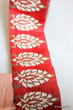 This listing is for a stunning Red Silk Trim With Copper And Beige Embroidery.  Width: Approx: 10.2 cm This listing is for 1 yard.  All the lace are perfect for dresses, dolls, altered art, couture, costume, jewellery design, pillowcase, home décor projects.  For bulk quantities please convo me and I can provide wholesale rates.