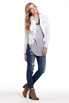 Photo (LA COOL & CHIC) | White denim, Denim jackets and Black