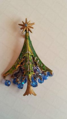 Vintage Holiday Pin Signed MYW Christmas Tree Brooch Blue Dangling Glass Beads