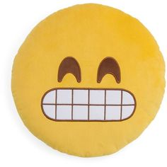 "Throwboy Grin Emoji Decorative Pillow, 14"" Diameter (63 BRL) ❤ liked on Polyvore featuring home, home decor, throw pillows, pillows, emoji, etc, filler, yellow, round toss pillows and yellow throw pillows"
