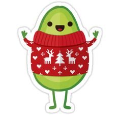 Cute little avocado wishes you a Merry Christmas! He's wearing his new Christmas sweater and he's in the mood for eggnog and Christmas carols. :) / Featured on Redbubble homepage 11th December 2016. Huge thanks to the 'Found by RB' curators!! :) / https://www.facebook.com/DaisyBeatriceDesign / https://instagram.com/daisy.beatrice • Also buy this artwork on stickers, apparel, phone cases, and more.