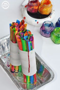 After a summer of fun our craft cabinet is a disaster, filled with LOTS of broken ends and bits. It was a gold mine of DIY potential! Broken crayons get a chance for new life.