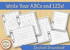 Alphabet Practice Worksheets, Number Practice Worksheets, Handwriting Practice, ABC Tracing Worksheets, Number Tracing Abc Tracing, Alphabet Tracing Worksheets, Printable Alphabet Letters, Number Tracing, Printable Numbers, Printable Worksheets, Preschool Alphabet, Printables, Preschool Writing