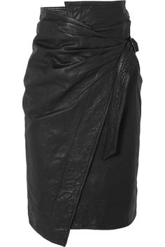 Black textured-leather Concealed snap and buckle fastening at side leather (Lamb); Rock Chic, Pencil Skirt Casual, Pencil Skirts, Pencil Dresses, Skirt Fashion, Fashion Outfits, Womens Fashion, Steampunk Fashion, Gothic Fashion