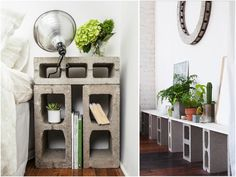 DIY: CINDER BLOCK FURNITURE A good idea in theory, but probably not practically. Especially on carpet.