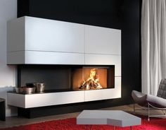Wood-burning fireplace / corner / closed hearth / contemporary HEAT PURE 90 HOEK LINKS  Kal-fire Foyer, Living Room, Hearth, Foyers