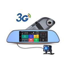 Dual Camera Lens 3G WIFI Car Dvrs Mirror Video Quad Core Android Dashcam Car Camera 7 Inch Bluetooth GPS Navigation Car Recorder
