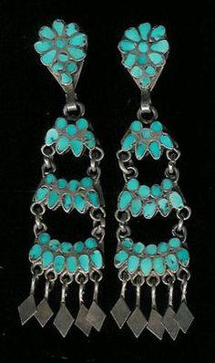Zuni Turquoise Multi-Inlay Floral Fan Dangle Clip Pawn Earrings Dishta Sold