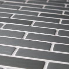 Somertile 12.25x10.5-in Anvil Steel Subway .75x2.5-in Metal Over Ceramic Mosaic…