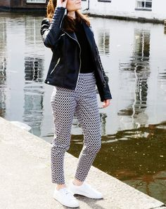 Well aren't these fun? Let cool pants do all the talking by paring them with simple basics like a black tee, black moto jacket and your go-to white sneakers. Note that this top-shoe combination would look just as rad with everything from skinny jeans to a midi skirt.