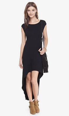 Black Bateau Neck Extreme Hi-lo Hem Dress from EXPRESS another bach party dress idea