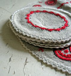 Crochet and Embroidery Doily and Coasters by InaMaeVintage on Etsy, $21.00