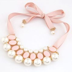 Picture of Candy Color Ribbon Simulated Pearl Chocker Pendant Necklace