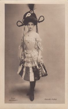 1907..Lovely Stage Dancer & Actress Olive May door decorables, $18.00