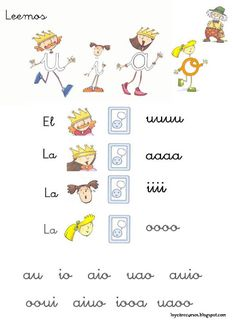 Leemos u a i o Spanish Lessons For Kids, Cursive, Activities For Kids, Alphabet, Language, Teaching, How To Plan, Education, School